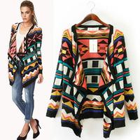 2014 New arrival Ladies Elegant Geometric print Knitted cardigan coat casual slim long sleeve outerwear brand design tops
