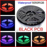 ( 20 reel/lot ) Black PCB 5M/Reel 12V SMD 5050 RGB Waterproof Flexible LED Strip Lights 300 LEDs 60 LEDs/M Wholesale