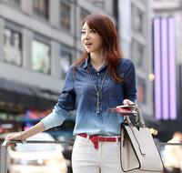 Free shipping!Women autumn 2014 Long Sleeve Fashion Jeans Shirt Women Blue Gradient Button Patchwork Shirt Tops For Women G0146