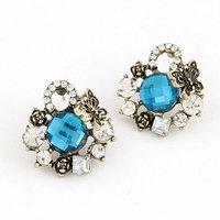 Europea Fashion Antique Butterfly Stud Earring Blue Stone Women Earring