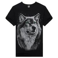 Free Shipping new 2014 Men fashion t-shirt summer men o neck shorts t shirt 3d woof print man t-shirts tops for men
