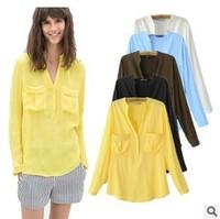 Women fashion autumn 2014 loose blouse long blouse ladies chiffon blusas cropped pattern sheer female shirt national trendd tops