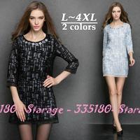 L-XXXXL Brand Elegant Beaded Collar Three Quarter Sleeve Slim Organza Dresses 2014 Autumn Winter Plus Size Women Clothing 3245