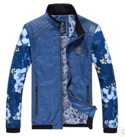 2014 Spring Autumn Men's Thin jacket Man Business Casually Slim Fit Jacket Coat Outdoor jacket Chinese style Printed Blue 3XL