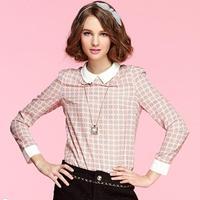 Blusinhas Women 2014 Peter Pan Collar Geometrical Print Bodycon Chiffon Blouse European Style Cute Shirts Chemise Femme 5911