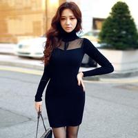 Autumn Fashion Vestidos Femininos Turtleneck Long Sleeve Voile Perspective Knitt Pencil Dress Slim Waist Sexy Dresses Black 110