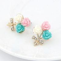 Korea Fashion Shell Flower Earring Crystal Women Earring