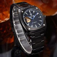 military full steel black brand automatic self-wind relogios masculino watch mechanical fashion luxury  tourbillon clock