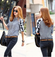 Free shipping!Dropshiping!2014 hot sale women's shirts Autumn new Women Korean asymmetric plaid long-sleeved shirt  G0150