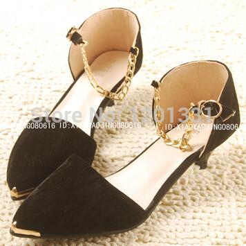 Grátis frete nova primavera sapatos de maré e ponta de metal de baixa sapatos documentais edição baotou han femininos sandálias princesa(China (Mainland))