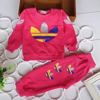 Retail brand fashion spring autumn children boys clothing sets baby girls kids Sport Leisure suit long sleeve T-shirt pants