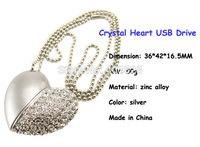 Chirtmas Gift Crystal Heart Shape USB Flash Drive 2GB , 4GB, 8GB, 16GB , 32GB Pen Drive Heart Shape USB Drive