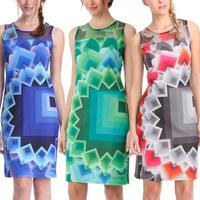 2014 New Women Clothing Geometric Fashion Bodycon Summer Casual Dresses Lady Vestidos Print Dresses Sexy Tank Gauze Dress