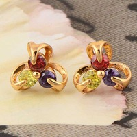 Perfect Stud Earrings Wholesale In 18K Gold Plated Multi-colored Cubic Zirconia Nickel free,14ER0750