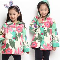 2014 New Brand 1 Pcs Children Outerwear Flower Print Kids Cardigan Coats And Jackets For Children Kids Spring Girl Winter Coat