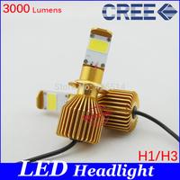 NEW,24W 12W*2 H1 H3 LED Headlight Conversion Kits 3000 Lumens CREE Chip White LED For Car Light HeadLamp headlight