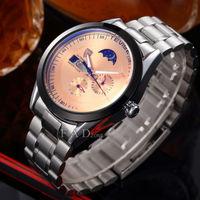 moon phase military full steel brand automatic self-wind relogios masculino watch mechanical fashion tourbillon watch clock