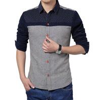 Free shipping Free shipping Polka dot Corduroy stitching long-sleeved shirt men's shirt M,L,XL,2XL,3XL,4XL,5XL