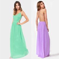 2014 New Fashion Women backless cross strap Dresses zipper Long chiffon dress Sexy women wedding party dresses