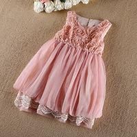 Girls rose flower dress , girls tutu dresses , dress kids ,5pcs/lot  LYB15