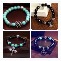 Xmas gifts Vintage Crystal Tibetan Silver Cross Turquoise Beaded Bracelets Women men Fashion 12pcs