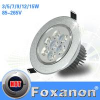 Foxanon Brand 2014 Ceiling Led light 110V 127V Cree chip 7W 220V 85-265V Down light Spot  Indoor Down Lamp Lighting 1pcs/lot
