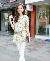 2014 New Design Fashion women chiffon floral print shirt casual blouse blusas femininas camis short sleeve lady T shirt big size