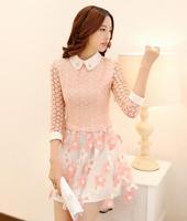 Women's Dress New 2014 Designer Women Casual  Lace Chiffon Slim Dress