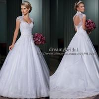 Custom Made Vestido de Noiva Open Back Sexy Wedding Dress Lace Appliqued Ball Gown Wedding Dresses Vestido de Casamento