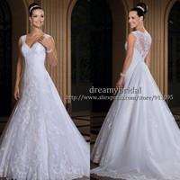 Custom Made Vestidos de Noiva 2014 A-Line Sexy See Through Back Lace Appliqued Wedding Dresses Fashionable Vestido de Casamento