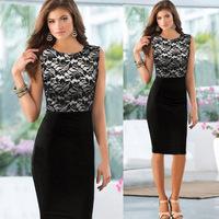 Popular Pinup Elegant Floral Lace Tunic Dress Knee-Length Colorblock Shift Bodycon Casual Pencil Dress Plus Size S,M,L,XL,XXL
