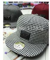 Korean alphabet leather standard rectangular woolen plaid flat along Chidori men and women hip-hop baseball cap flat-brimmed hat
