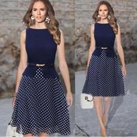 2014 New Summer Party Dresses Dark Blue Garment Women Casual Dress Polka Dot Print Chiffon Vestidos Ladies Elegant With Belt