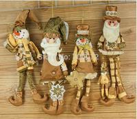 Free shipping 4pcs/lot Indoor Christmas decorations Deer Santa snow snowman cloth pendant Holiday gifts Santa Claus pendant