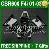 7gifts For HONDA CBR600F4i 01 02 03 CBR600FS NEW Green C108 CBR600 F4i 2001 2002 2003 FS CBR 600 F4i White black   Fairings