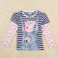 Peppa pig Baby Girls T Shirts Kids Clothes Long Sleeve Girls Shirt  5 Piece lot Brand Nova Children Clothing For Child  F5351