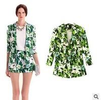 Green leafy Flower Printed slim slim lady suit lapel jacket 2014 frozen casual coat blazers coat free shipping