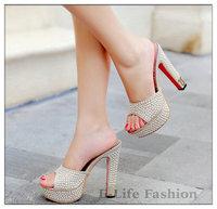 new 2014 Summer Women's Sandals platforms pumps Pearl women High Heel Open Toe slippers women's shoes 666-7