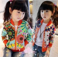 2014 Winter New Baby Girls Coat Sunflower Printed Casual Jackets Trendy Kids Zipper Thin Cardigan Tops Female Children Outerwear