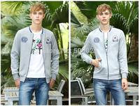 Free drop shipping Men's fashion casual cotton stand-collar Varsity jackets baseball coat cardigan style good quality