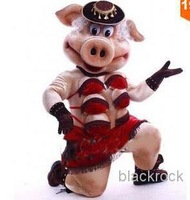 New arrival 2014 The high quality of Puppets Striptease Strip Pig Swinish Mascot Costume Party Outfits Fancy Dress Free Shipping