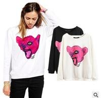 Women's fashion wild leopard head printing hoodies gym clothes female jacket coat junjors frozen autumn winter hodies knitted