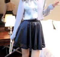 Women's Skirts New 2014 Designer Women Casual Mini Pu Leather Skirt Black