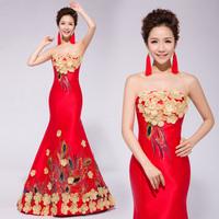 Chun Bra trailing wedding dress was thin package hip new silk satin dress clothes toast the bride dress