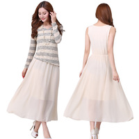 XL~5XL 2014 Spring Autumn Women Plus Size XXXXL Twinset Knitted Long-sleeve Tops + Long Vest Maxi Chiffon Dress