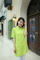 Plus Size XL,2XL,3XL,4XL,5XL,6XL,7XL 100% Cotton Women Green Long Shirts Free Shipping a0053