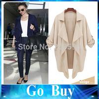 Free shipping 610230 Fashion 2014 New Casual Irregular Lapel Windbreaker Women Coat/ Long sleeve Women's Clothing