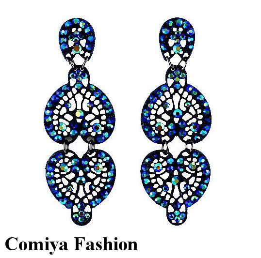 New love blue rhinestone jewelry earrings brand fashion drop dangle large earrings for perfume women 2014 brincos de prata exo(China (Mainland))