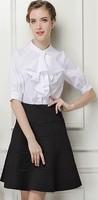 Free shipping 2014 autumn new women clothing set,work skirt suit,women fashion lantern sleeves work blouse and skirt