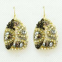 2014 New Korean Fashion Luxury Chain and Beads Mixed Handmade rhinestone Big Drop Earrings Earrings for Women Jewelry